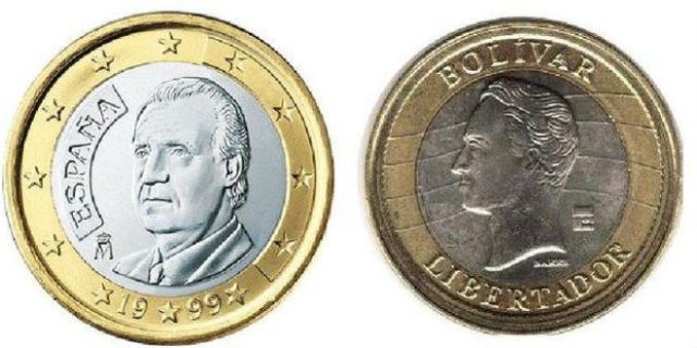 Compared side-by-side: The 1 Euro coin used in Spain and the 1 Bolívar Fuerte