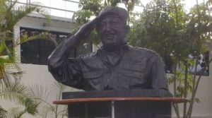Bust of Hugo Chavez located outside Los Proceres Shopping Mall