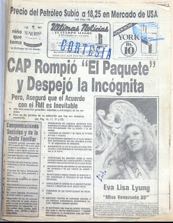 Gotta love the fact that on the day the paquete was announced, the A1 photo in UN was of Miss Venezuela...