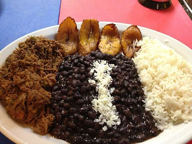 Brazilian beef, Nicaraguan beans, Gringostani rice...hey, I guess the platanos are still Venezuelan, right? TENEMOS PATRIA!
