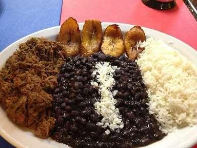 Brazilian beef, Nicaraguan beans, Gringostani rice...hey, I guess the platanos are still Venezuelan, right? TENEMOS PATRIA!