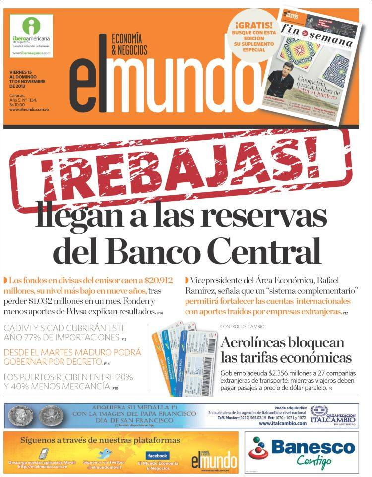 Fired For Putting Public Central Bank Data On The Front Page Of A Business Newspaper Caracas Chronicles