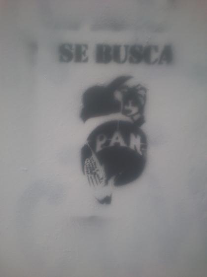 """A graffiti. """"Wanted"""""""