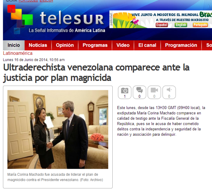 Yes. This is how Telesur decided to frame their story. This is the picture they chose.