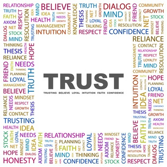TRUST. Word collage on white background.