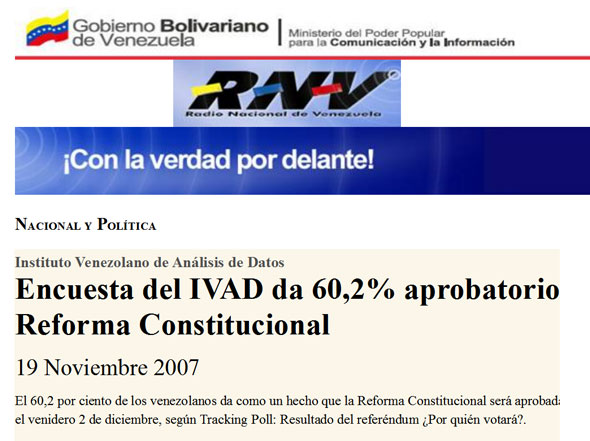 Not IVAD's proudest moment, but proof positive that they lean toward the government - a few weeks after this headline, the opposition defeated the government by two percentage points.