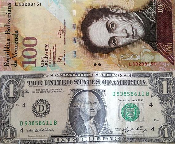 billete-de-100-bolivares-y-de-1-dolar-Venezuela