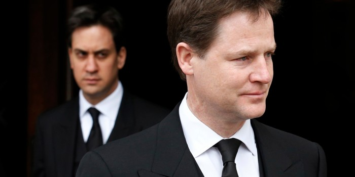 Britain's deputy prime minister, Nick Clegg (R), and leader of the opposition Labour party, Ed Miliband, leave after attending the funeral service of former British prime minister Margaret Thatcher at St Paul's Cathedral, in London April 17, 2013. Thatcher, who was Conservative prime minister between 1979 and 1990, died on April 8 at the age of 87.  REUTERS/Olivia Harris (BRITAIN - Tags: POLITICS RELIGION OBITUARY SOCIETY)