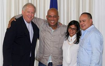Left to right: America's diplomat, Haiti's president, Venezuela's foreign minister and its drug lord.